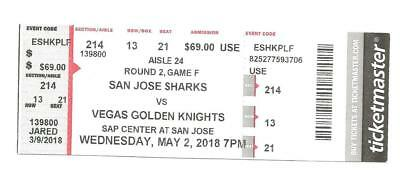 San Jose Sharks Vegas Golden Knights Round 2 Game 4 Hard Ticket EXTREMELY RARE!!