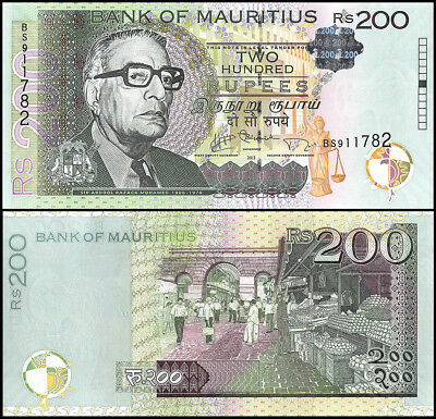 Mauritius 200 Rupees Banknote, 2013, P-61b, UNC, Sir A.R Mohammed, Market