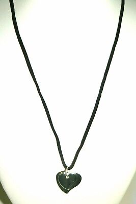 Silver Plated Double Heart Pendant Necklace + Black Suede Leather Band Strap