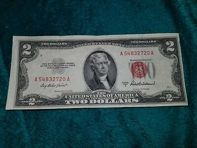 1953 Two Dollar Bill Red Seal $2 United States Note ~ A54832720A ~
