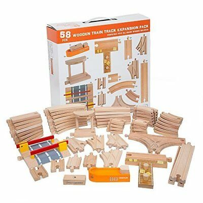 58 Piece Wooden Train Track Expansion Pack Featuring Container Ship, Ship Dock,