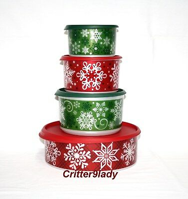 NEW Tupperware One Touch Stacking Christmas Canister Set plus Cookie Canister