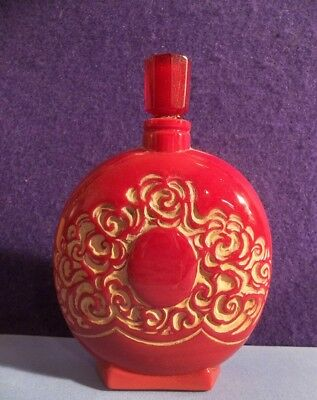vtg ART DECO LIONCEAU perfume bottle old FRENCH OPAQUE RED GLASS antique SIGNED