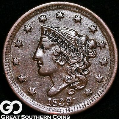1839 Large Cent, Coronet Head, Choice AU+ Copper
