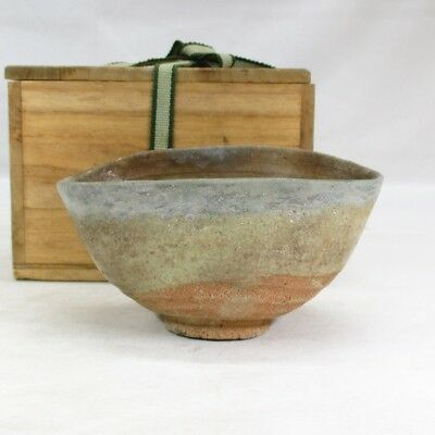 D403: Real old Japanese KARATSU pottery serious tea bowl over 300 years ago