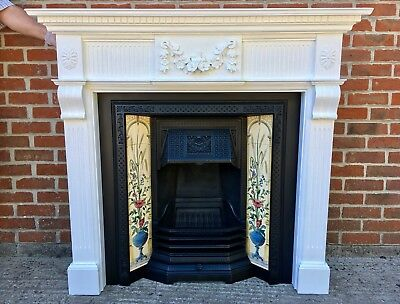 Victorian Style Cast Iron Tiled Fireplace With Solid Wooden Painted Surround