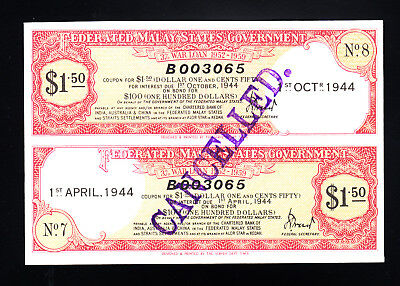 1944 Federated Malay States Government War Loan Certificate $1.50 UNC
