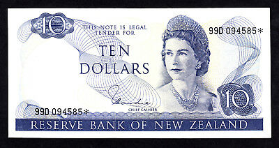 New Zealand NZ $10 Hardie Type I 1977-81 P. 166d QEII Star Note 99D  VF RARE