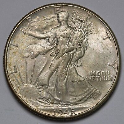 1945 US Walking Liberty Half Dollar 90% Silver AU/UNC Coin