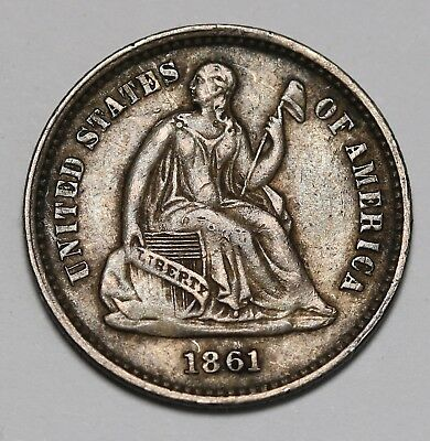 1861 US Half Dime- Seated Liberty Silver Coin KM# 91 aEF Rare