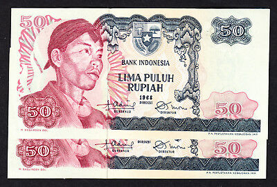 1968 Indonesia 50 Rupiah P. 107  - 2 AU Notes Prefix FAK