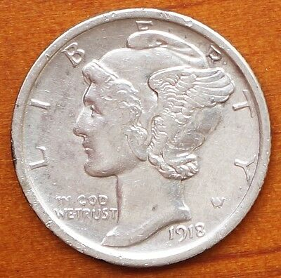 1918 US Mercury Dime Silver 10 Cents  EF Coin