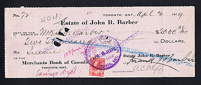 1919 Cheque Merchants Bank of Canada Toronto  R. Barber - George V 2 cents Stamp