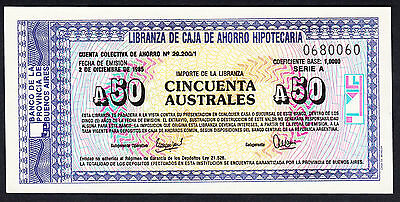 Argentina  50 Australes Emergency Issue  aUNC 1985 -Buenos Aires