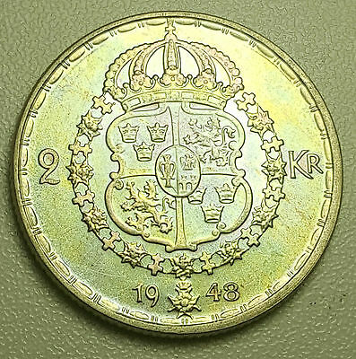 1948 Sweden 2 Kronor KM# 815  Silver MS UNC Coin Toned