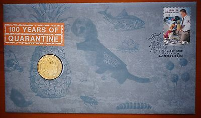2008 Australian Centenary of Quarantine $1 Coin & 50c Stamp PNC FDC