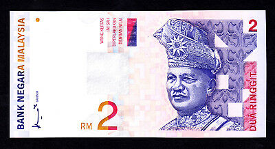 Malaysia 2 Ringgit  ND 1996  UNC Note  P. 40a 1st Prefix AA Low # 0004617