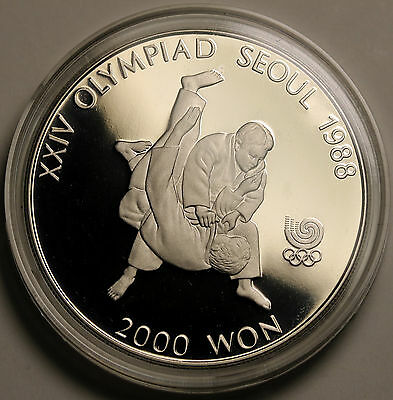 1987 Korea-South 2000 Won KM# 51 Proof Coin Seoul Olympics Tae Kwon Do FDC