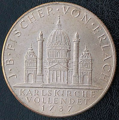 1937 Austria 2 Schilling  Silver BU Coin  Completion of St. Charles Church 1737