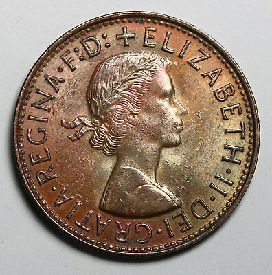 1960 Australia Penny KM# 56 Some Luster & Toning