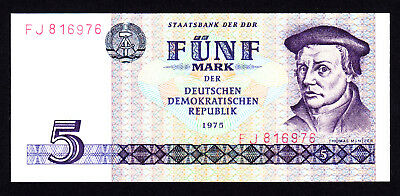 DDR Germany 1975 : 5 Mark UNC Note P. 361a Prefix FJ