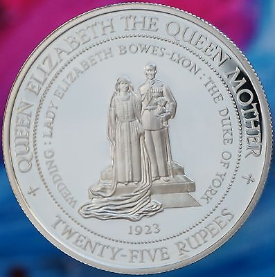 1994 Seychelles 25 Rupees KM# 79 Silver Proof 1923 Royal Wedding Queen Mother