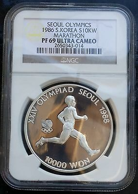 1986 Korea South 10,000 Won KM# 56 Silver Proof Coin NGC PF69 UCAM Marathon