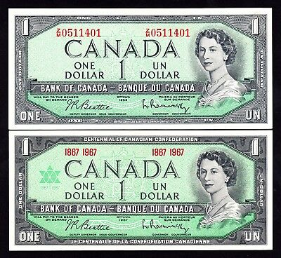 Canada Dollar $1 1954 & 1967 Centennial 2 AU QEII Notes