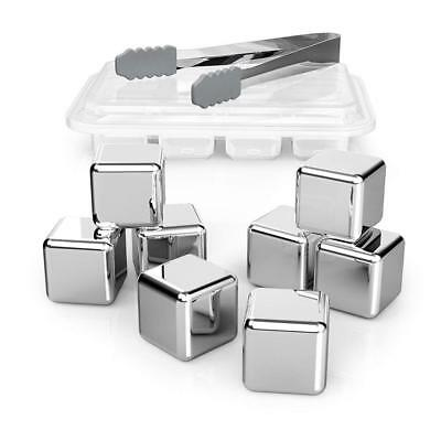 Set of 8 Stainless Steel Reusable Ice Cubes for Whisky Wine Vodka Other Drinks