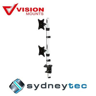 """New Vision Mounts VM-FE120D Desk Clamp Dual Vertical Monitor Arm up to 27"""" 8KG"""