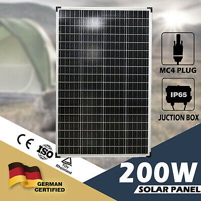 200W Solar Panel 12V Mono Caravan Camping Battery Charge Power MC4 Plug Included