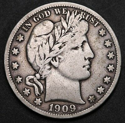 1909 S US Barber Half Dollar 90% Silver Coin KM# 116