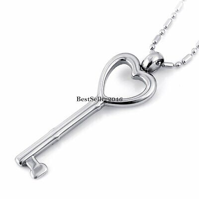 """High Polished Stainless Steel Key to My Heart Pendant Men Women Necklace  22"""""""