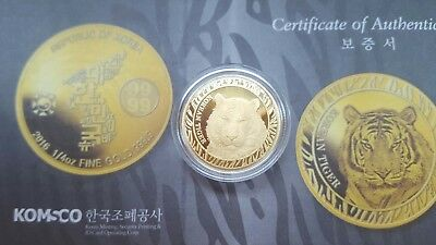 2016 South Korea 1/4 oz Gold Korean Tiger BU Medal w/ Box & COA - KOMSCO