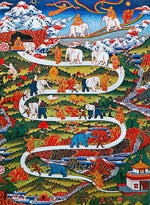 50 Inch Tibet Buddhist Thangka Spiritual Enlightenment Road Changing By Elephant