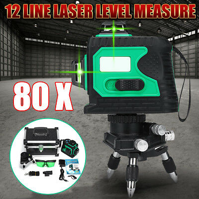 80X 3D Green 12 Line Laser Level Self Leveling Outdoor 360° Cross Measure Tool