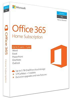 New Microsoft Office 365 Home Licence Card 5 Users 1 Year Subscription PC Mac