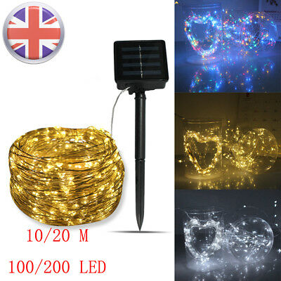 LED Solar String Copper Wire Fairy Lights Waterproof 10/20/30M Outdoor Garden UK