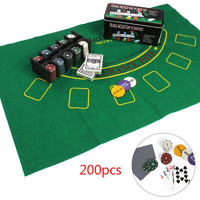 Casino Style 200 Piece Poker Chip Set Texas Hold'em Poker Casino Game Set Cases