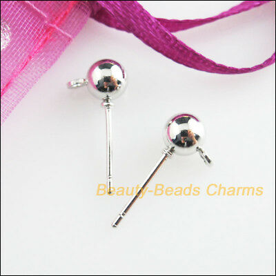12 New Findings Dull Silver Plated Round Ball Wire Earrings Hooks 5x16mm