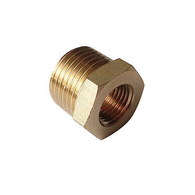 "Brass Pipe Fitting Reducing Bushing 1/4"" MNPT x 1/8"" NPT(F) Reducer Adapter"