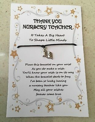 Nursery Teacher Wish Bracelet Thank You Leaving Card Gift Shape Little Minds