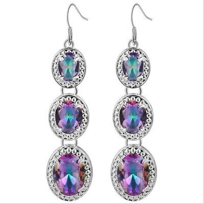 Newest Oval Fire Rainbow Mystic Topaz Quartz Silver Dangle Earrings for Women