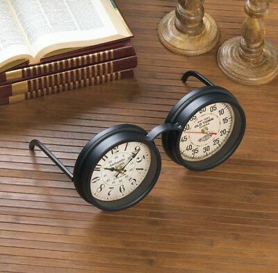 Black Vintage Old Spectacles Style Desk, Table, Mantel Clock