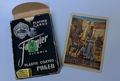 Vintage Egyptian Art Poker PLAYING CARDS by Fournier Vitoria Made in Spain