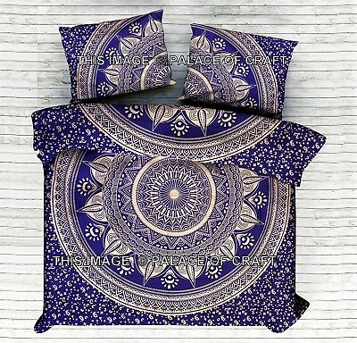 Indian Cotton Ombre Mandala King Quilt Doona Set Bohemian Duvet Comforter Cover