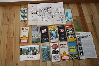 Vintage 1959-60's Washington Travel Vacation Brochures~Maps 66~Shell~World Fair~