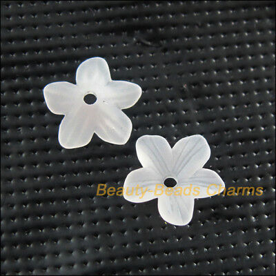 80 New Charms Acrylic Plastic Star Flower Spacer End Bead Caps White 11mm