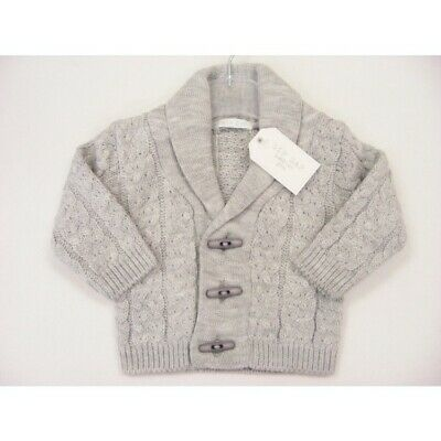 Baby Boys Spanish Style Romany Traditional Shawl Collar Grey Cable Knit Cardigan