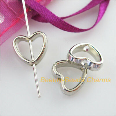 30 New Charms Acrylic Heart Spacer Beads Frame Dull Silver Plated 11x12mm